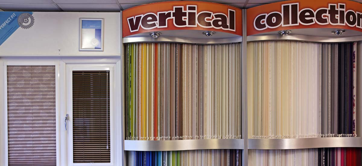 Vertical blinds on display in our showroom.